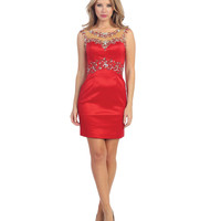 Red Gem Beaded Illusion Bodycon Dress 2015 Prom Dresses