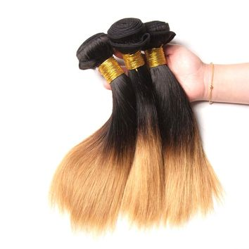 Ombre Brazilian Remy Hair Straight Weave Human Hair 1B/27 10 Inch Extensions