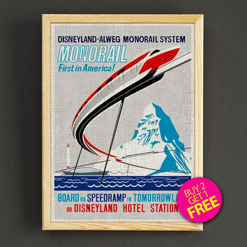 Vintage Disneyland Attraction Poster Dsney Monorail System Print Home Wall Decor Gift Linen Print - Buy 2 Get 1 FREE - 349s2g