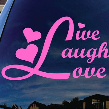 Live Laugh Love Pink Car Window Vinyl Decal Sticker