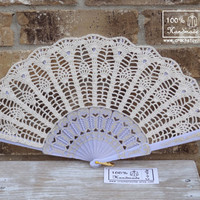 Crochet HAND FAN in Ivory Wedding Accessory, Lolita, Bride Bouquet, Photo prop, Made in USA- Made to Order