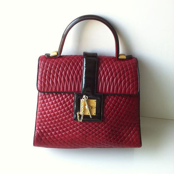 Rare Bally Deep Red Lambskin Quilted Handbag