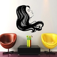 Makeup Wall Decal Vinyl Sticker Decals Home Decor Mural Make Up Girl Woman Eyes Face Lips Fashion Cosmetic Hairdressing Hair Beauty Salon Decor (6042)