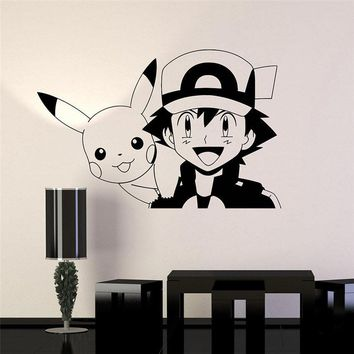 Pikachu Anime Manga Vinyl Wall Decal Cartoon Home Decor Kids Room Bedroom Art Mural Wall Stickers Wall Sticker D562Kawaii Pokemon go  AT_89_9