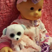 "15 inch baby doll or any size lovey blankie blanket ""Polar Bear Lovey"" security blanket toy Frostiness J4a"