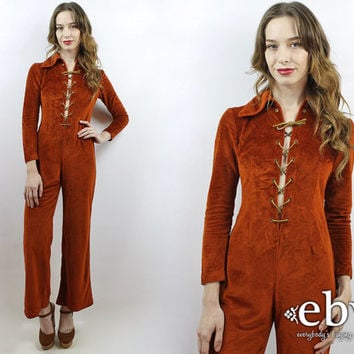 1970s Jumpsuit Hippie Jumpsuit Hippy Jumpsuit 70s Bell Bottoms 70s Jumpsuit Vintage 70s Rust Velvet Jumpsuit XS S Velour Jumpsuit