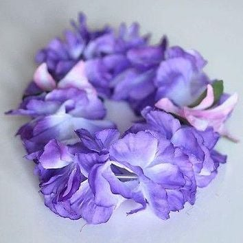 Premium Purple Hawaiian Crown Lei Headband Paradise Petunia with Orchids Boho