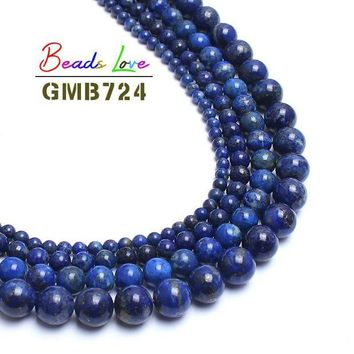 ac spbest 4/6/8/10mm Natural Stone Beads 100% Not dyed Genuine Lapis Lazuli Stone Round Beads For Jewelry Making 15inch Spacer Beads