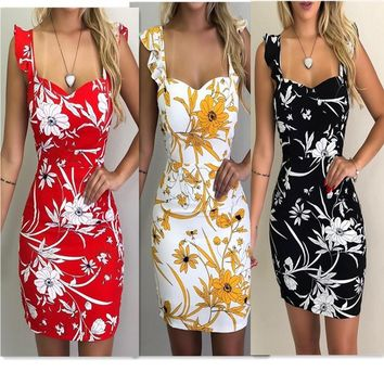 Sleeveless printed dew backpack hip dress