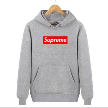 Supreme With thick printed letters long sleeve T-shirt hoodie Grey