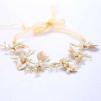 ONETOW Handmade Women Gold Luxury Pearl Crystal Bridal Ribbon Headbands Leaf Headpieces Rhinestone Wedding Party Hair Jewelry S