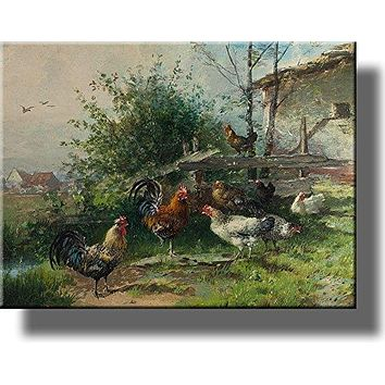 Rooster and Chicken Hens, Farm Animals Wall Picture on Acrylic , Wall Art Décor, Ready to Hang!
