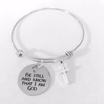 Be Still And Know That I Am God Scripture Cross Adjustable Bangle Charm Bracelet