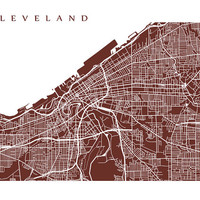 Cleveland Map - Ohio Poster Print - Choose color and size