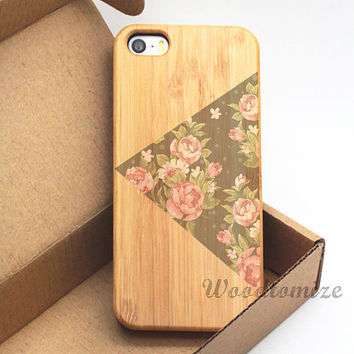 iPhone 5C case, iPhone 5S 5 case, Wood cover, Vintage floral flower rose style, Bamboo, Cherry wood, FREE screen protector [A23]