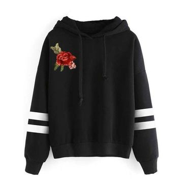 DCCK8H2 Fashion Women Embrodiery Rose Long Sleeve Stripe Hoodie Shirt