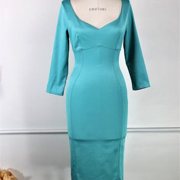 Pinup Couture Wiggle Dress In Turquoise