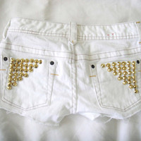 White Denim Shorts with Gold Studs Sz 24 by MagglzJelly on Etsy