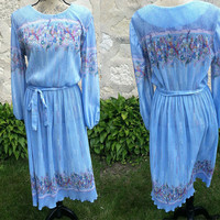 70's Vintage Light Blue Dress with Colorful Floral Print - Norwin Clothing Ltd.