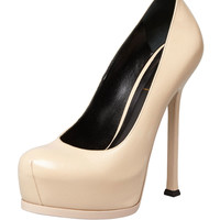 Tribute Two Leather Pump, Nude - Saint Laurent - Nude (39.0B/9.0B)