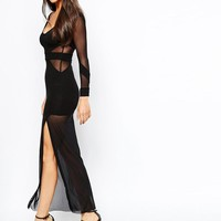 Quontum | Quontum Maxi Dress with Mesh Inserts and Sheer Skirt at ASOS