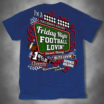 Sweet Thing Friday Night Football Lovin Cheerin Girl Blue Girlie Bright T-Shirt