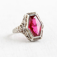 Antique 14k White Gold Pink Ruby Ring- Vintage Art Deco 1920s 1930s Floral Filigree Flower Fine Jewelry