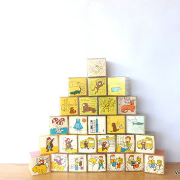 Vintage Children Learning Blocks 1970s Alphabet Numbers Animal Blocks Color Blocks Pattern Matching Spelling Blocks Educational Toy Stacking
