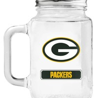Green Bay Packers Mason Jar Glass With Lid