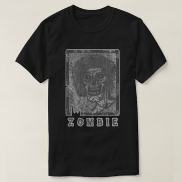 Zombie-Grey White Distressed T-Shirt