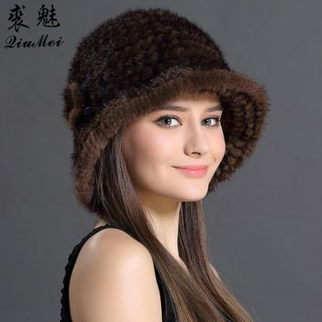 Women Bucket Hat New Fashion 2018 Solid Color Casual Hats Cap For Female Adult Girl Floral Design Women Winter Real Mink Fur Hat