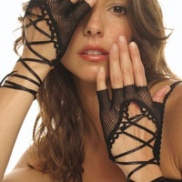 Black Lace up Fishnet Gloves Goth Punk Vamp 80s Glam