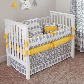 CUSTOM BOUTIQUE BABY BEDDING - Ele Yellow - 5 Pc Crib Bedding Set