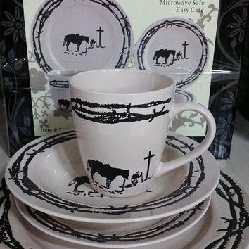 Praying Cowboy 16 Piece Dinnerware Set