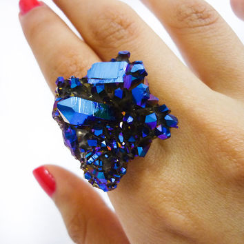 Titanium Quartz Cobalt Blue Crystal Druzy Ring by AstralEYE