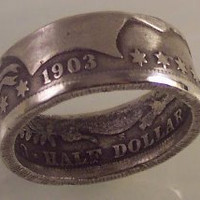 Silver coin ring Barber Half dollar sz 12 Date by silvercoinrings