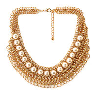 FOREVER 21 Metal Muse Necklace Gold/Cream One