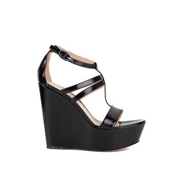Gianvito Rossi Black Patent Leather Strappy Wedge Sandals