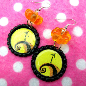 Nightmare Before Christmas Jack Skellington Pumpkin Earrings