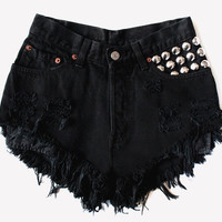 High Waisted Frayed Studded Denim Shorts