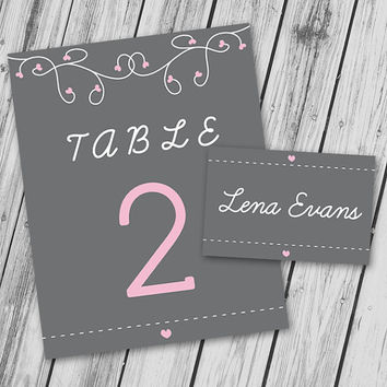 Wedding Place Card Table Name Table Number - Printable PDF - Pink and Grey