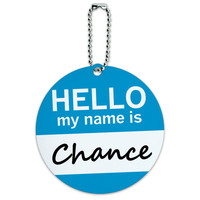 Chance Hello My Name Is Round ID Card Luggage Tag