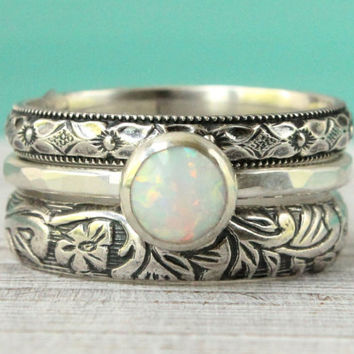 White opal ring set of 3, sterling silver, flower pattern, floral vintage style, stackable ring stack, engagement bridal rustic wedding band