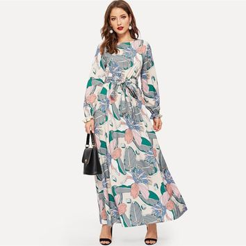 Keyhole Back Belted Flower Print Round Neck Multicolor A Line Dress Abaya Office Lady Women Long Sleeve Dresses