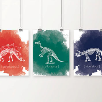 Dinosaur Skeleton Watercolor Splash Art Print Set - Children's Wall Art - Toddler Room Decor - Dinosaur Art - Primary Color Art - Set of 3