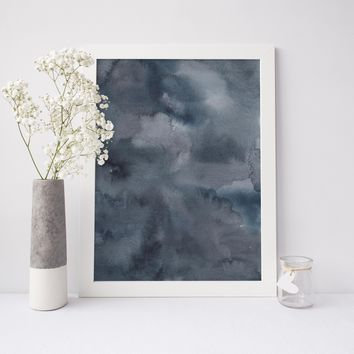 Modern Dark Blue + Silver Watercolor Abstract Art Print