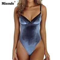 Missufe Sexy Backless Velvet Bodysuits Women Beach Wear Bodycon Bandage Autumn Romper Jumpsuits Stretchy Skinny Womens Bodysuits