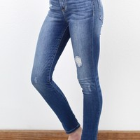 High Rise Distressed Skinny Jeans {Med. Wash}