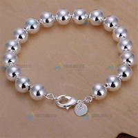 H136 Fashion Elegant 925 Sterling Silver Bracelet, High Quality 10mm 925 Silver Beads Chain Bracelet for Men Women (Size: 20.5 cm, Color: Silver) = 1958347908