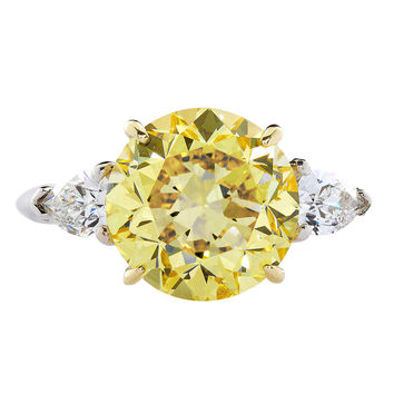 Tiffany & Co. GIA Cert 5.86 Carat Fancy Intense Yellow Round Diamond Ring